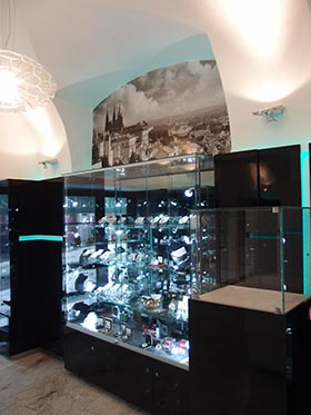 Prague Mint numismatic store interior (Bratislava, Slovak capital city)